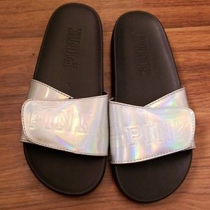PINK holographic sandals size 5/6 womens